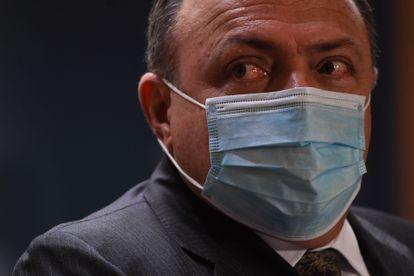 O ministro da Saúde, Eduardo Pazuello, concede uma entrevista coletiva no domingo, 17 de janeiro, após a aprovação do uso emergencial da Coronavac pela Anvisa.