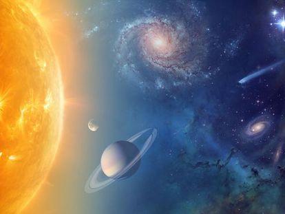 Ilustração da NASA sobre seus objetivos de exploração do Sistema Solar e pesquisa do universo.