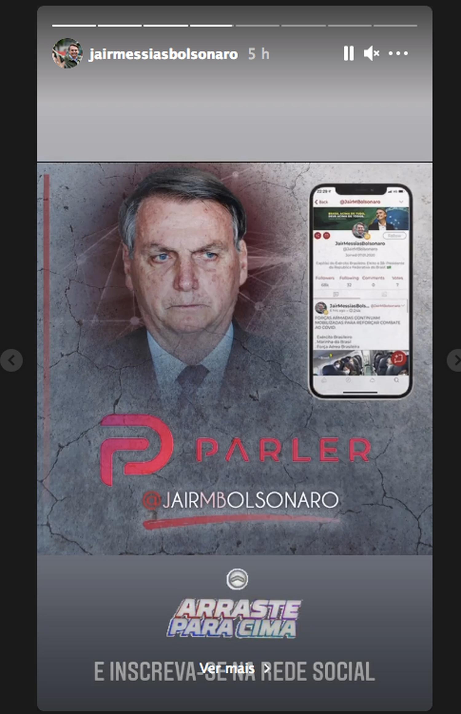 Bolsonaro convida apoiadores a segui-lo no Parler, suspenso pelo Google.