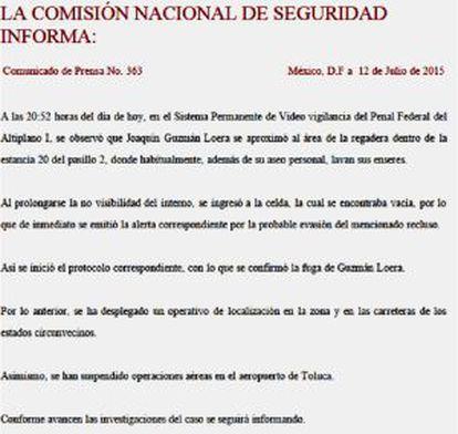 O comunicado da Comissão Nacional de Segurança