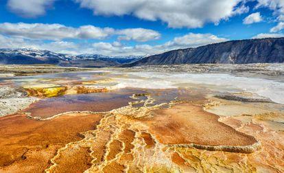 Águas termais no Parque Nacional de Yellowstone, nos EUA.
