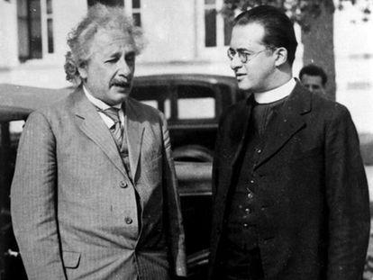 Einstein e Lemaître, juntos na Califórnia, em 1933.