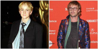 Tom Felton, o vilão Draco Malfoy, quando criança e numa imagem deste ano.