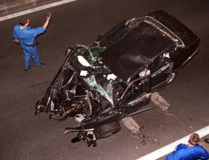 O Mercedes envolvido no acidente que causou a morte da princesa.