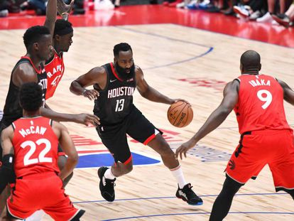 James Harden, no Rockets x Raptors desta terça-feira no Japão.