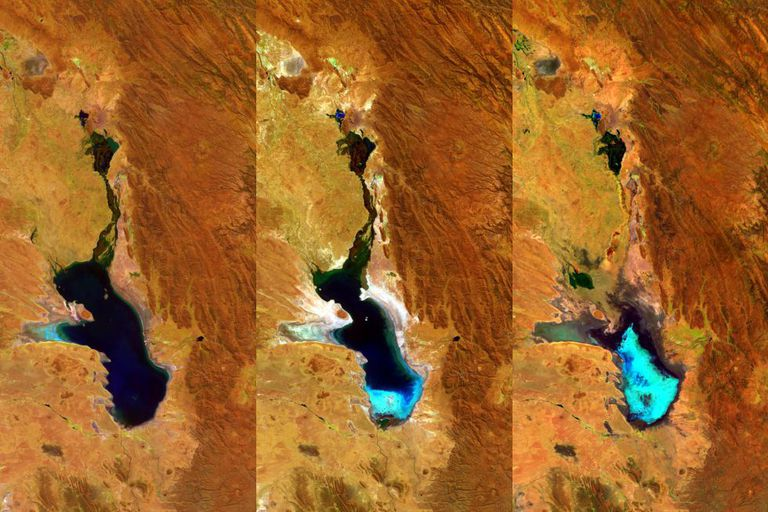 Três imagens do Poopó, captadas pela ESSA.