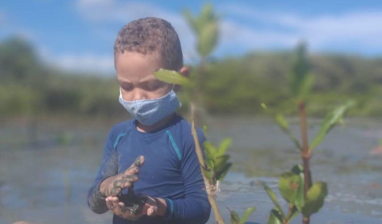 Menino planta árvore no projeto Bosques da Memória, em homenagem a vítimas de coronavírus.