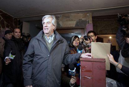 Tabaré Vázquez durante as votações do domingo