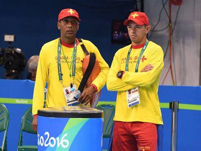 Salvavidas durante um treino no Parque Olímpico.