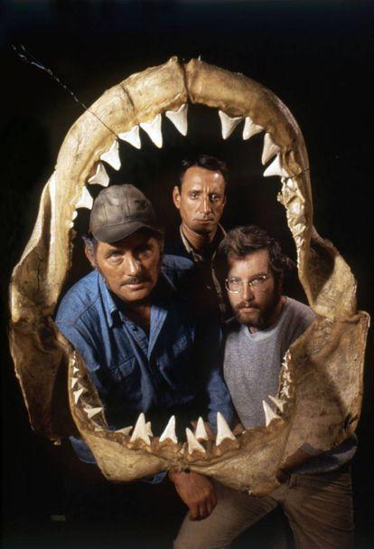 Robert Shaw, Roy Scheider e Richard Dreyfuss em uma imagem promocional de 'Tubarão'.