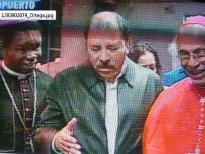 O presidente Ortega, nesta segunda-feira em uma imagem do Canal 6 da Nicarágua.