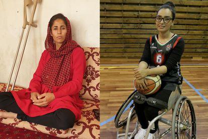 À esquerda, Khatera Safi na casa de sua família nos arredores de Cabul, há uma semana. À direita, Nilofar Bayat, no ginásio de treinamento de sua equipe, o Bidaideak, de Bilbao
