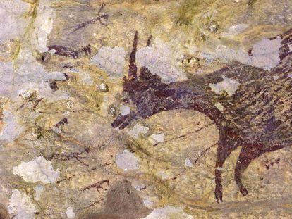 Um búfalo-anão rodeado de figuras antropomorfas é uma das imagens da obra recém-descoberta.