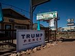 A Trump/Pence campaign sign sits outside the Tonto Rim Bar & Grill in Payson, Gila County, Arizona.