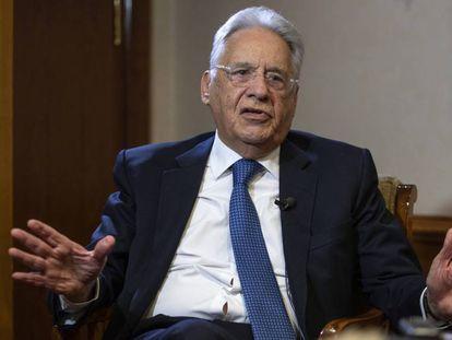 O ex-presidente brasileiro Fernando Henrique Cardoso, nesta quarta-feira em Madri. Em vídeo, Cardoso fala da ideologia de Bolsonaro.