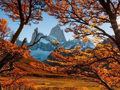 Outono no monte Fitz Roy na Patagônia, Argentina.