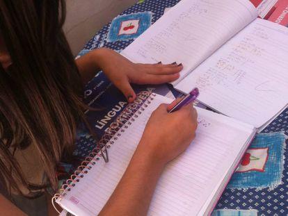 Maria Carolina estudando em casa.