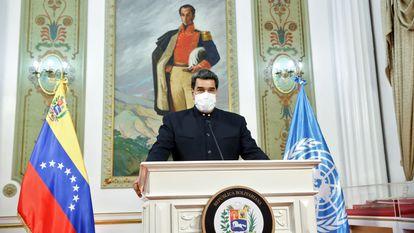 O presidente da Venezuela, Nicolás Maduro, durante seu discurso nesta quarta-feira na Assembleia Geral da ONU.