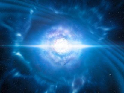 Reconstrução da fusão de duas estrelas de nêutrons