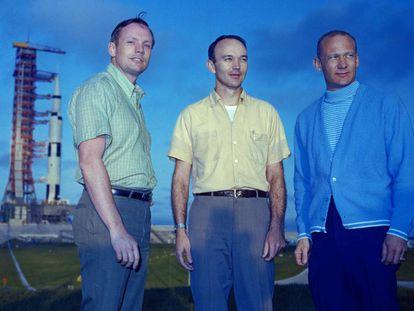 Neil Armstrong, Michael Collins e Buzz Aldrin posam no Centro Espacial Kennedy, na Flórida, em 1969.