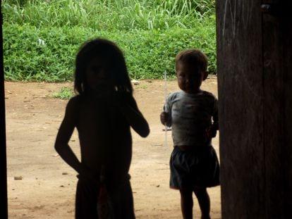 Crianças do povo Sanöma, que vive na Terra Indígena Yanomami, na fronteira do Brasil com a Venezuela.