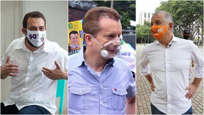 Guilherme Boulos, Celso Russomano e Márcio França, candidatos a prefeitura de São Paulo.