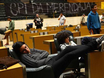 Estudantes na Assembleia Legislativa de SP.