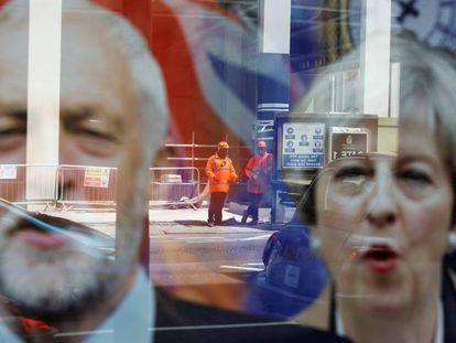 Imagens da campanha dos candidatos Theresa May e Jeremy Corbyn, candidatos que disputam as eleições no Reino Unido, nesta quinta-feira.