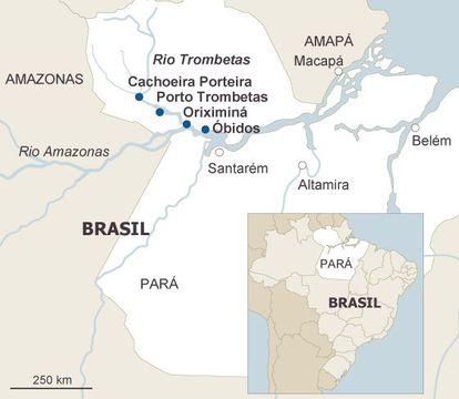 Mapa do estado do Pará, onde estão as cidades de Cachoeira Porteira, Oriximiná e Óbidos. Porto Trombetas é o distrito industrial de Oriximiná, onde fica a sede da Mineradora Rio do Norte.