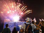 Fogos artificiais na celebração do Dia da Independência em Tel Aviv.