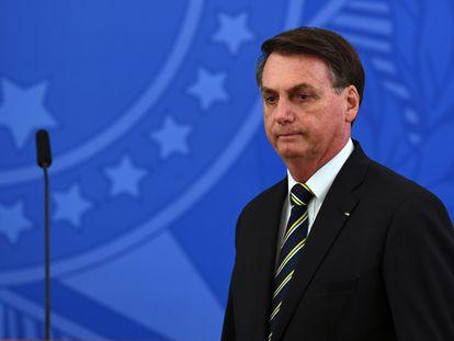 O presidente Jair Bolsonaro, durante pronunciamento na sexta-feira (24/04).
