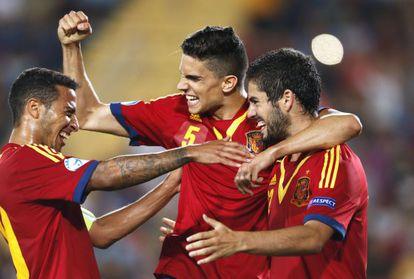 Thiago, Bartra e Isco festejam um gol contra a Itália durante o último Campeonato Europeu Sub-21.