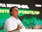 O presidente Jair Bolsonaro durante inauguração de trecho da ferrovia Norte Sul em São Simão (GO), no dia 4 de março de 2021.