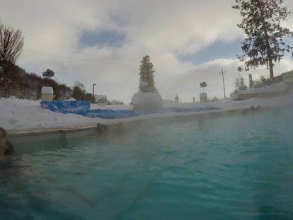 A piscina termal do hotel Rigopiano, neste fim de semana.