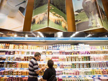 Seção de laticínios em um supermercado.
