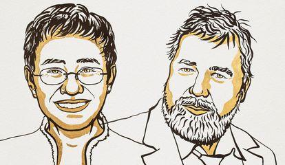 Maria Ressa e Dmitry Muratov, ganhadores do Nobel da Paz 2021.