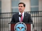 FILE PHOTO: U.S. Defense Secretary Mark Esper gives remarks during the 19th annual September 11 observance ceremony at the Pentagon in Arlington, Virginia, U.S., September 11, 2020. REUTERS/Erin Scott/File Photo