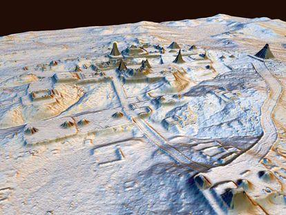Vista área da cidade de Tikal, encoberta em sua maior parte pela floresta e por sedimentos.