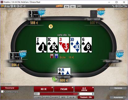 Mesa de pôquer on-line.