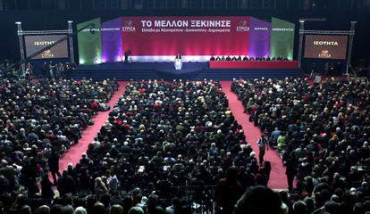 Tsipras, na apresentação de seu programa, em Atenas.