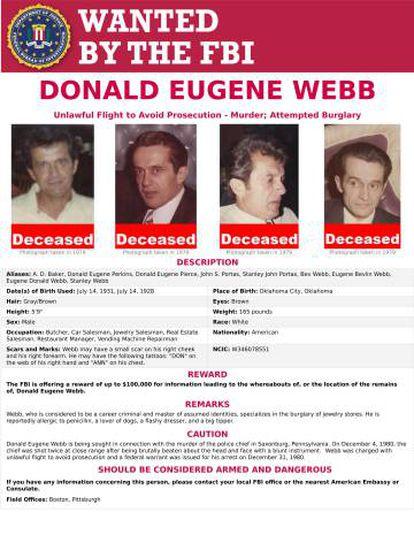 Pôster do FBI pedindo pistas para encontrar Webb