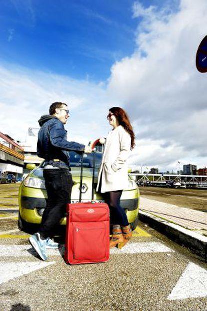 Raquel (motorista) e Iván (passageiro), em Madri.