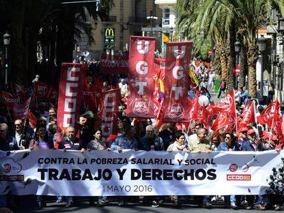 Manifestação pelo Dia do Trabalho de 2016 em Valência.