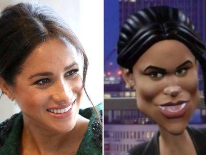 Meghan Markle, em março passado, em Londres; à direita, a imagem paródica da duquesa no programa da BBC.
