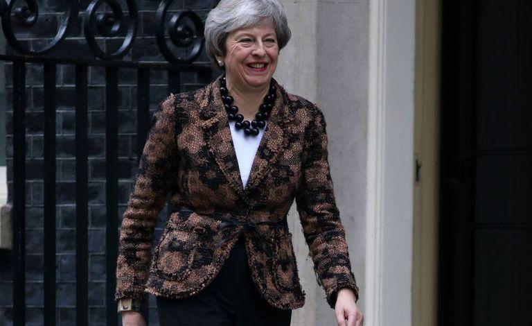 Theresa May, esta manhã em Downing Street.