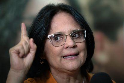 A ministra Damares Alves, fala no lançamento da campanha de prevenção à gravidez na adolescência. EFE/ Joédson Alves