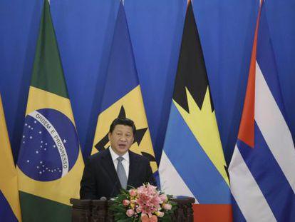 O presidente chinês, Xi Jinping, durante o primeiro encontro ministerial China-CELAC, nesta quinta-feira.