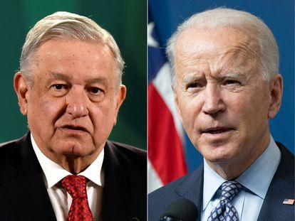 O presidente do México, Andrés Manuel López Obrador, com seu homólogo dos Estados Unidos, Joe Biden.