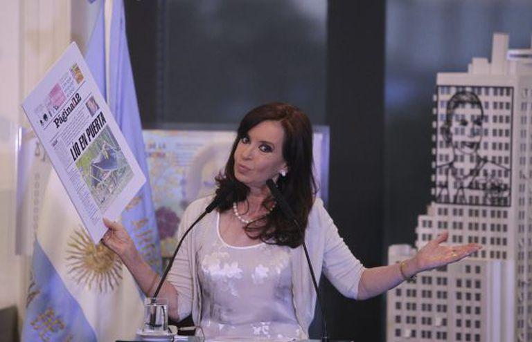 Cristina Fernández durante o anúncio de hoje.