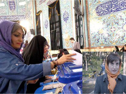 Jovem iraniana coloca seu voto na urna.